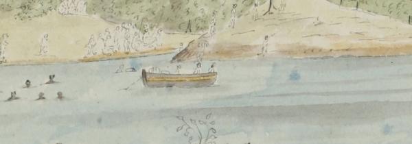 Krusenstern's circumnavigation of the globe, 1803-1806. Taiohae Bay on the island of Nuku Hiva in Polynesia. National Archives of Estonia, EAA.1414.3.3.76